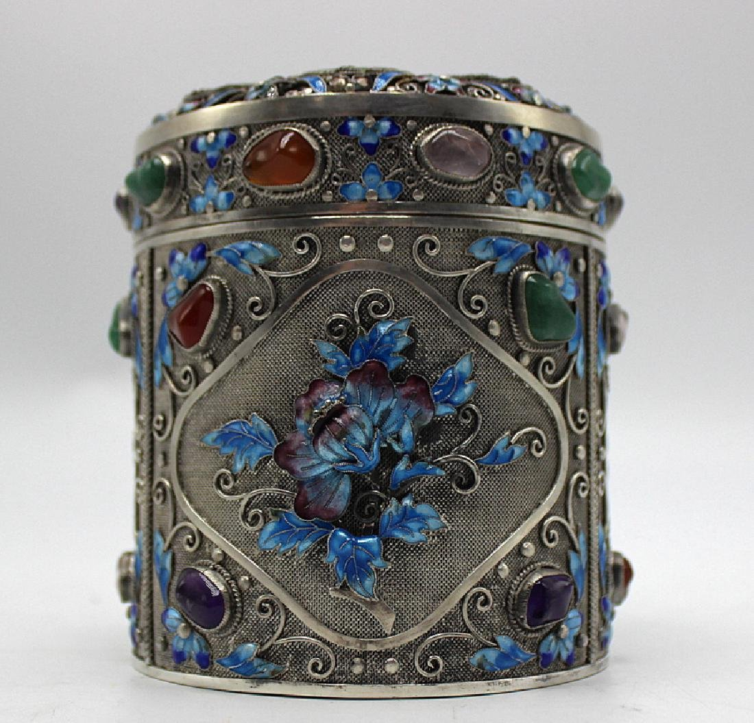 Chinese Republic Period Sterling Box Mounted with Jade,