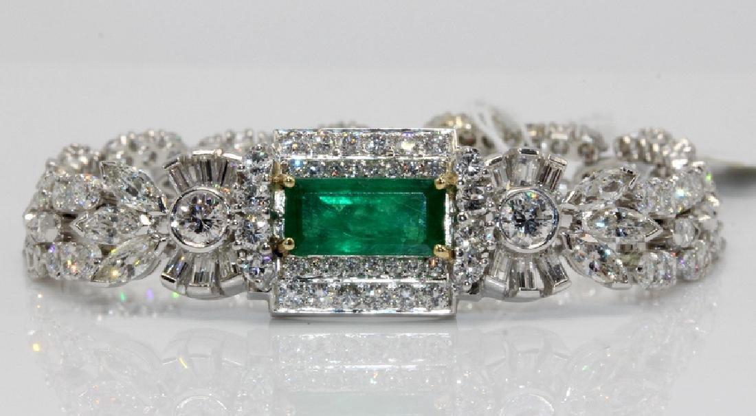 Platinum 10.00ct. Diamond 2.76ct. Emerald Bracelet