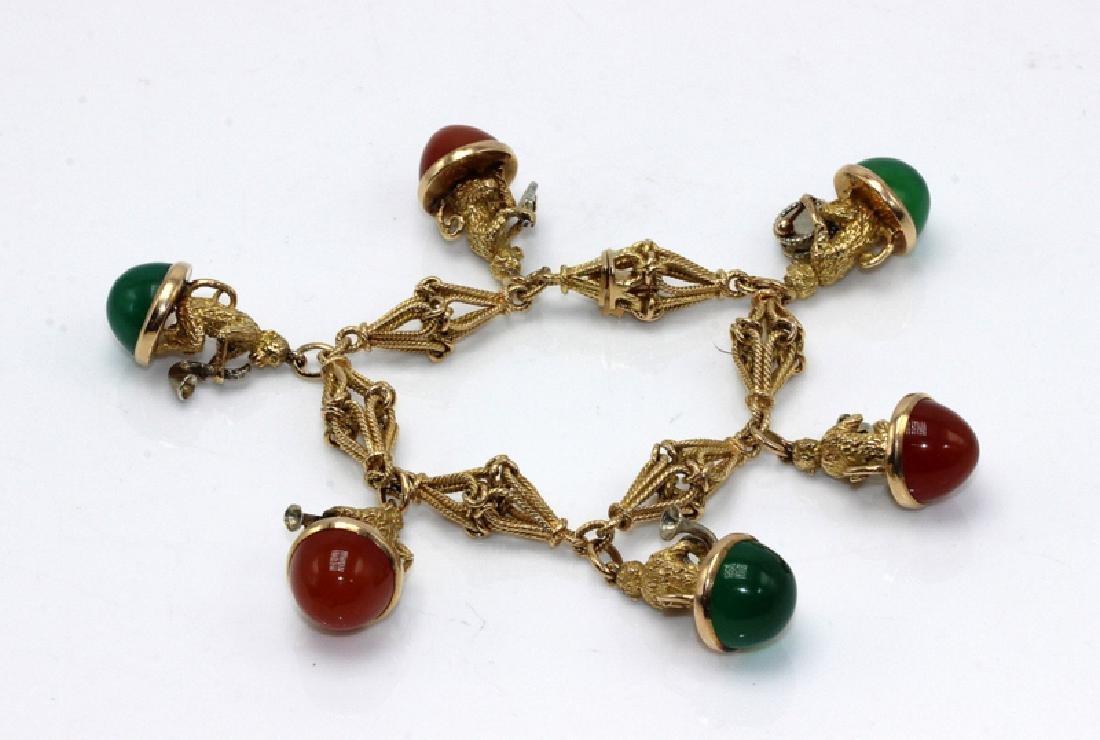 18Kt YG, Jade & Carnelian Monkey Music Charm Bracelet