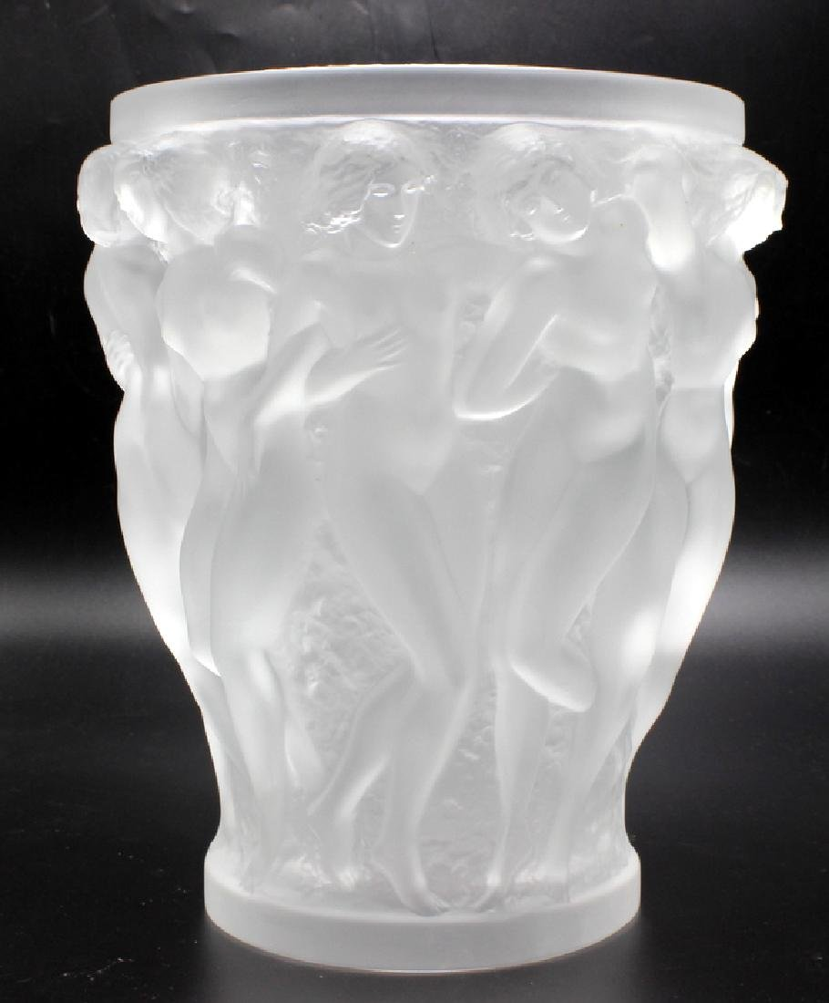 "Lalique ""Bacchantes"" Clear Crystal Vase"