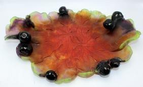 Daum Pate de Verre Art Glass Salamander Fig Leaf Dish