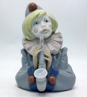 "Lladro #5586 ""Clown with Saxophone"" Porcelain Figure"