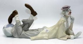 "Lladro #4618 ""Reclining Clown"" Porcelain Figure"
