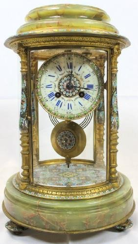French Champleve Enamel & Onyx Four Glass Mantle Clock