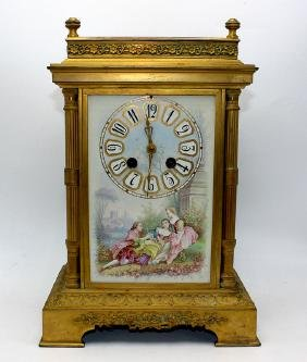Antique French Gilt Bronze & Enamel Mantle Clock with