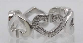 "Cartier 18Kt WG ""C"" & 0.10ct. Diamond Heart Ring"