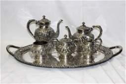 Kirk & Sons Sterling Silver Five Piece Tea Set & Tray