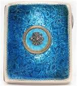 Russian Sterling Silver & Enamel Cigarette / Card Case.