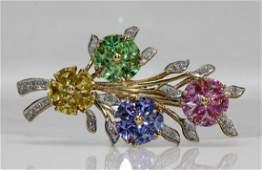 14Kt YG Diamond & Precious Stone Flower Brooch
