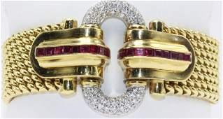 18Kt Estate Ruby & Diamond Bracelet