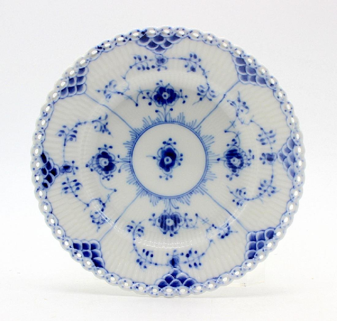 "Royal Copenhagen ""Blue Fluted Full Lace"" (12) Saucers"