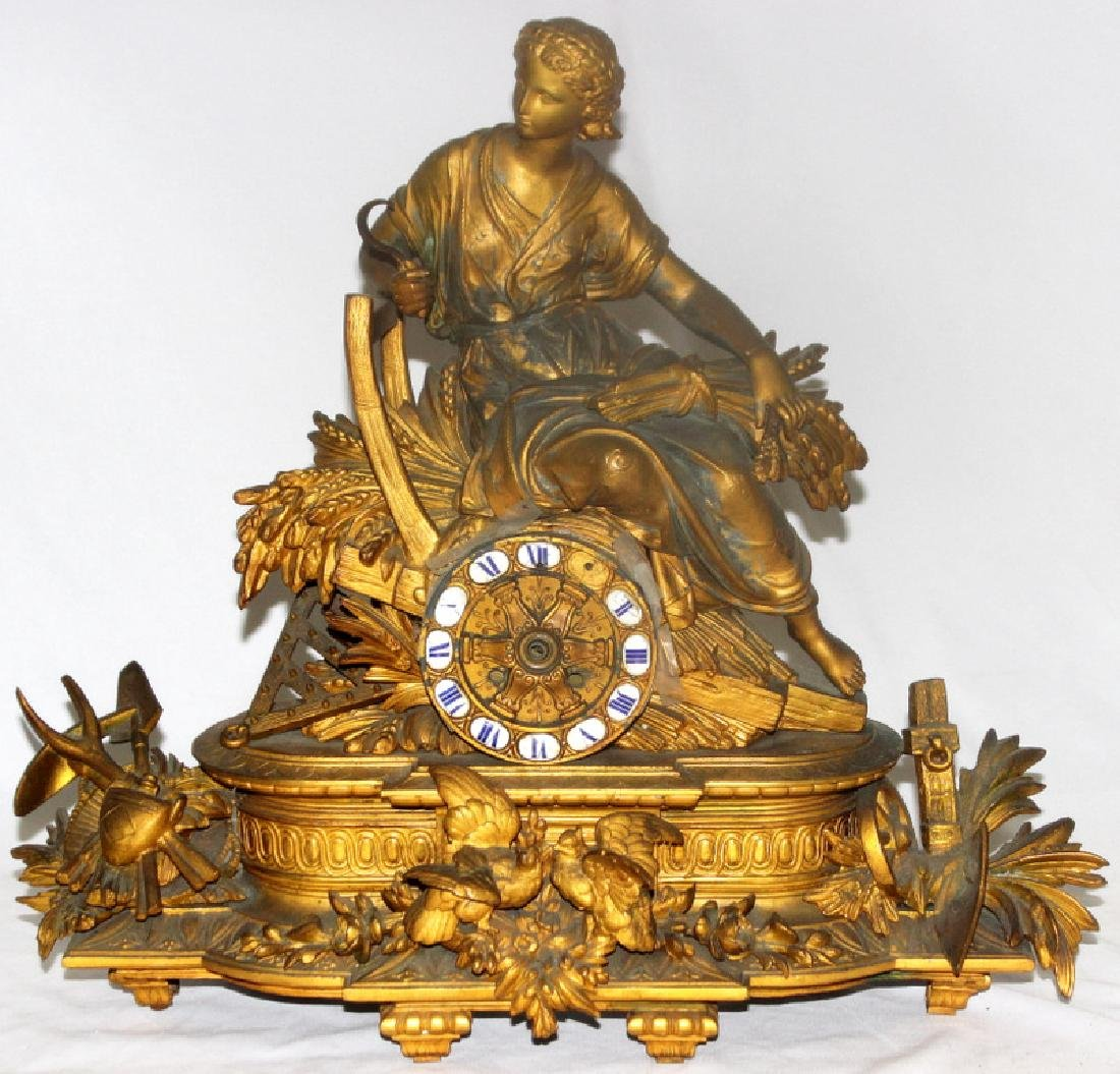 Antique French Metal Figural Mantle Clock