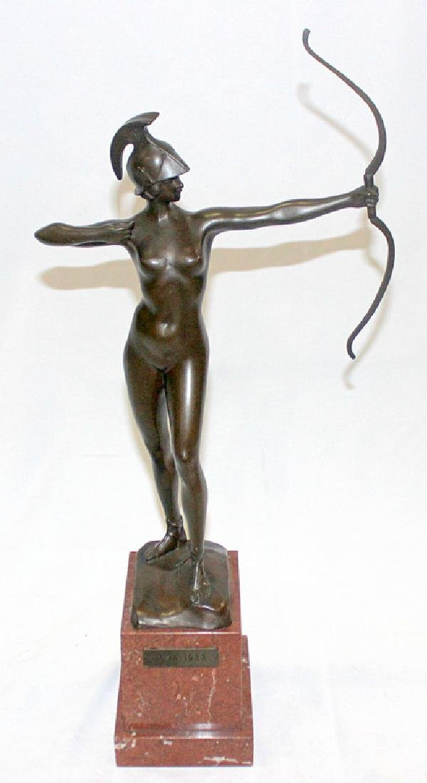 Bronze Figure of an Archer Mounted on Marble