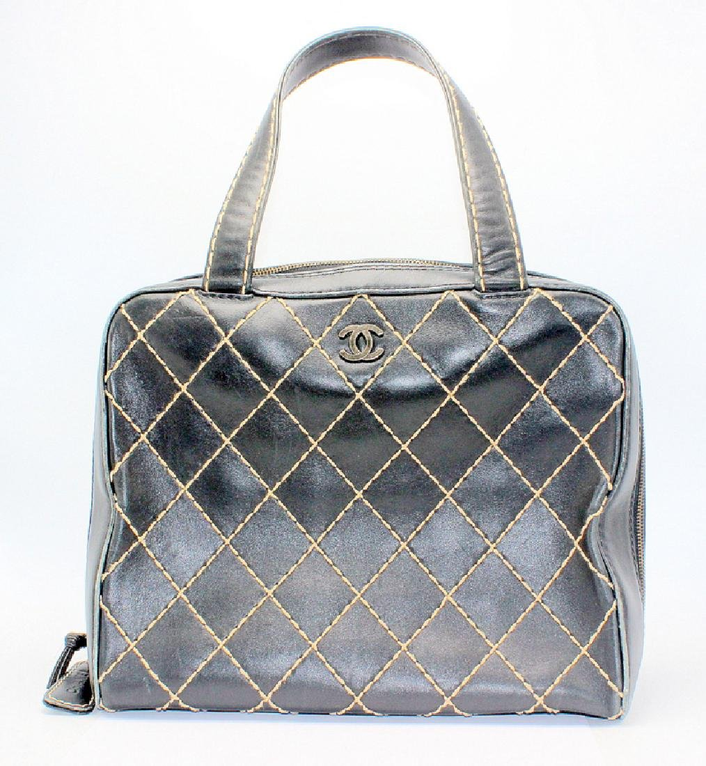 Chanel Caviar Quilted Black & Tan Tote Bag