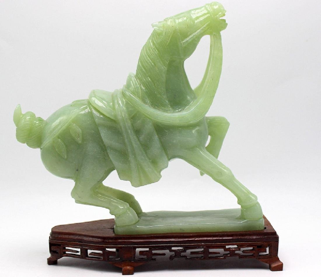 Chinese Carved Jade Horse on Original Wooden Stand