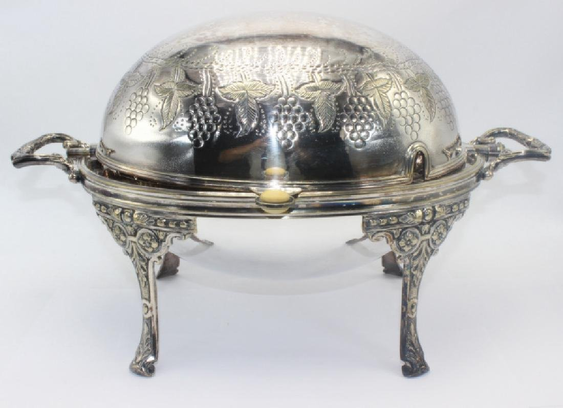 Sheffield Silver Plate Revolving Hand Chased Covered