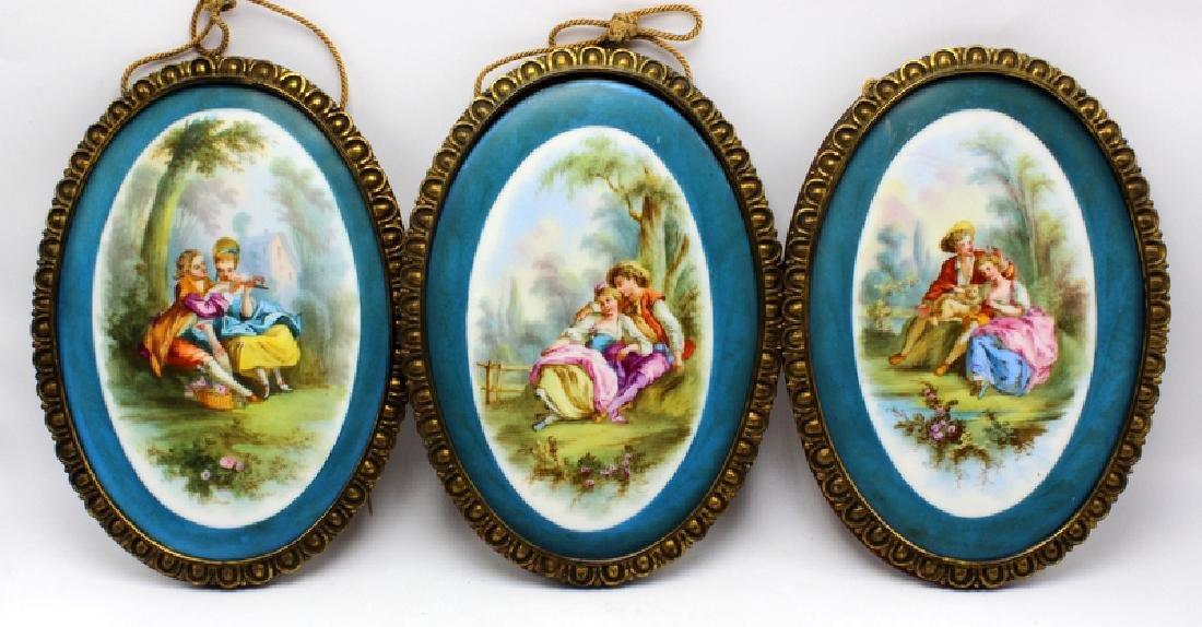 Sevres Style (3) Framed Porcelain Plaques