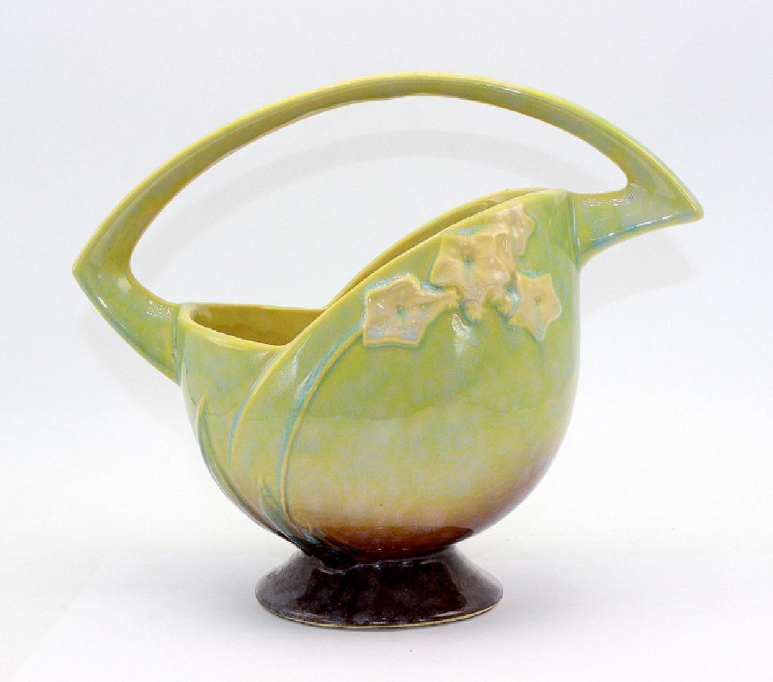 Roseville Pottery Handled Basket