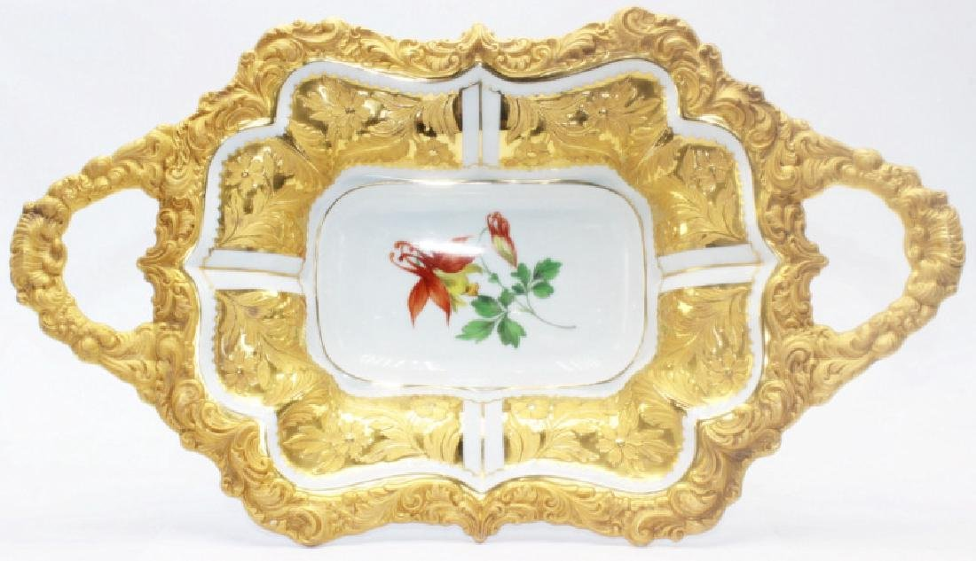 Meissen Two-Handled Floral Tray