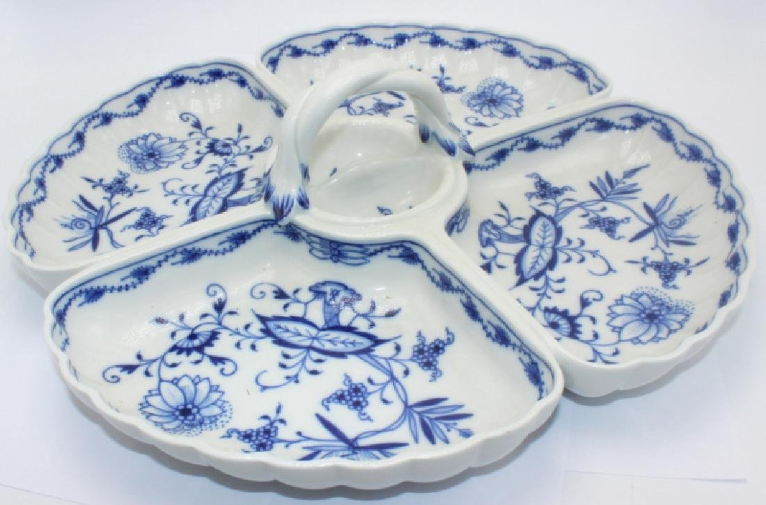 Meissen Blue Handled Onion Divided Dish