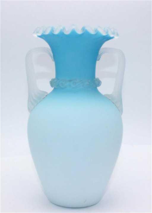 Antique American Blue Satin Glass Vase