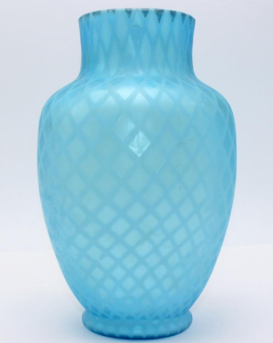 Antique American Blue Satin Glass Vase