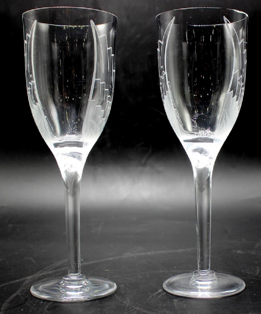 "Lalique ""Ange"" (12) Crystal Wine Glasses"