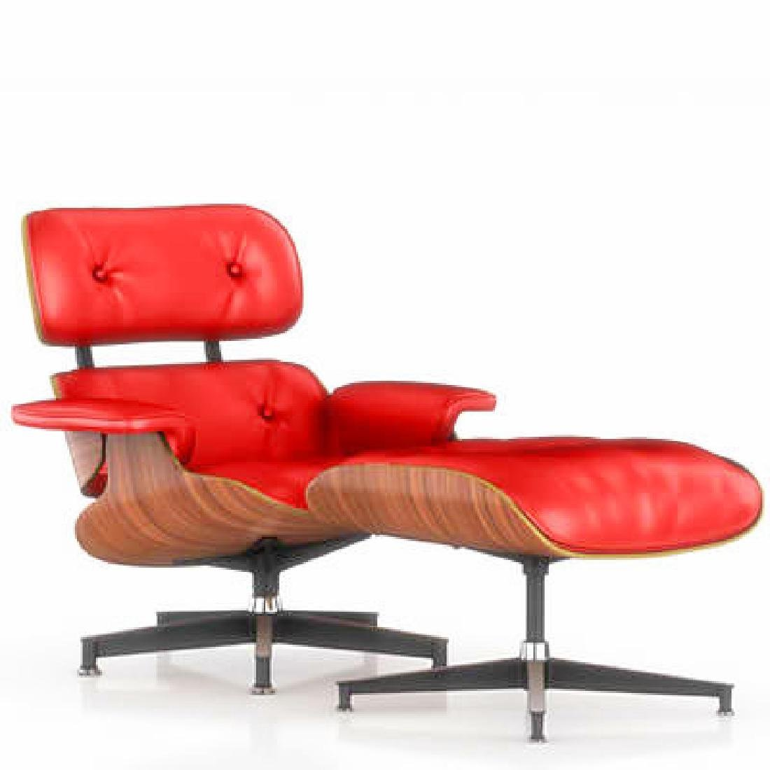 Herman Miller Royal Red Lounge Chair & Ottoman