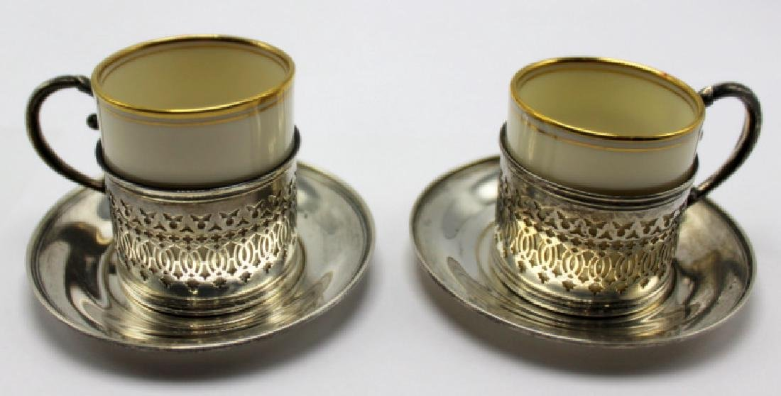 Lenox (9) Sterling Silver Cups & Saucers Holders