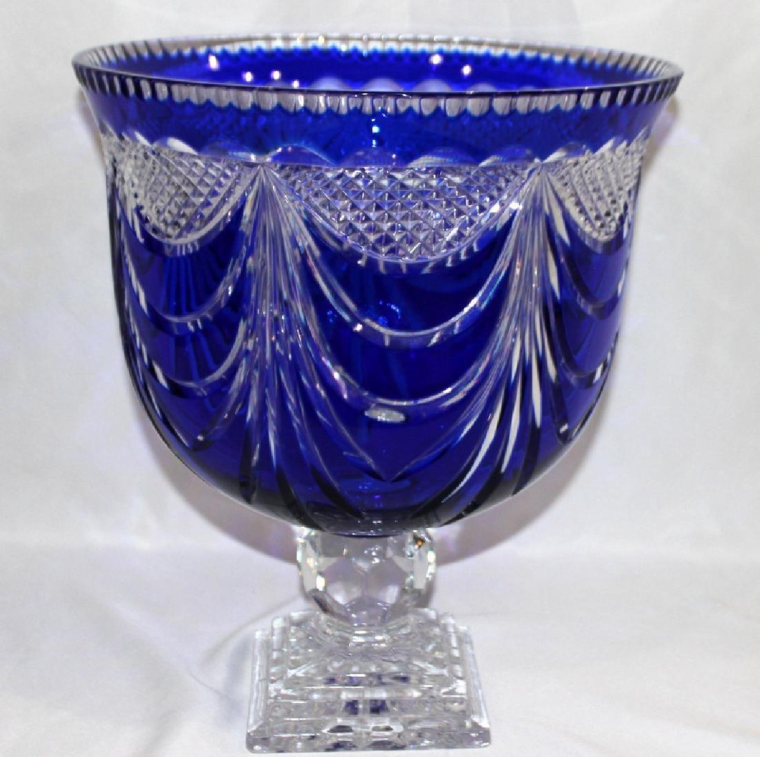 Cobalt Blue Palace Size Cut Crystal Bowl