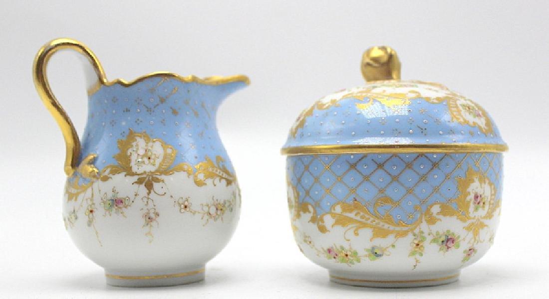 Meissen Porcelain Covered Sugar Bowl & Creamer