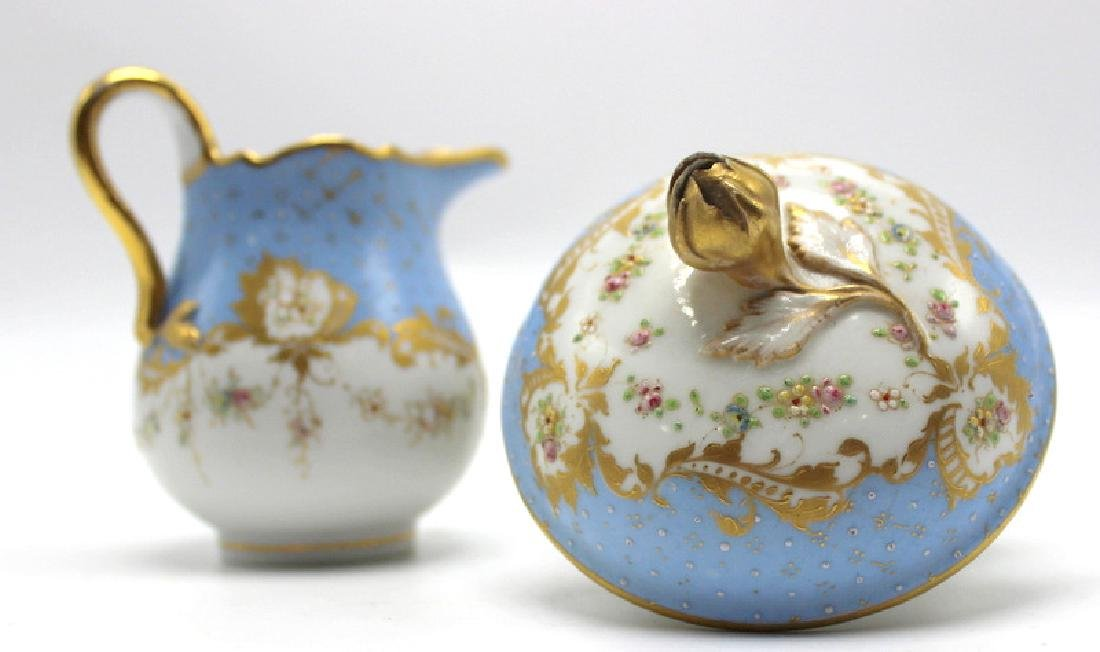Meissen Porcelain Covered Sugar Bowl & Creamer - 2