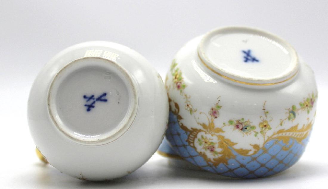 Meissen Porcelain Covered Sugar Bowl & Creamer - 3