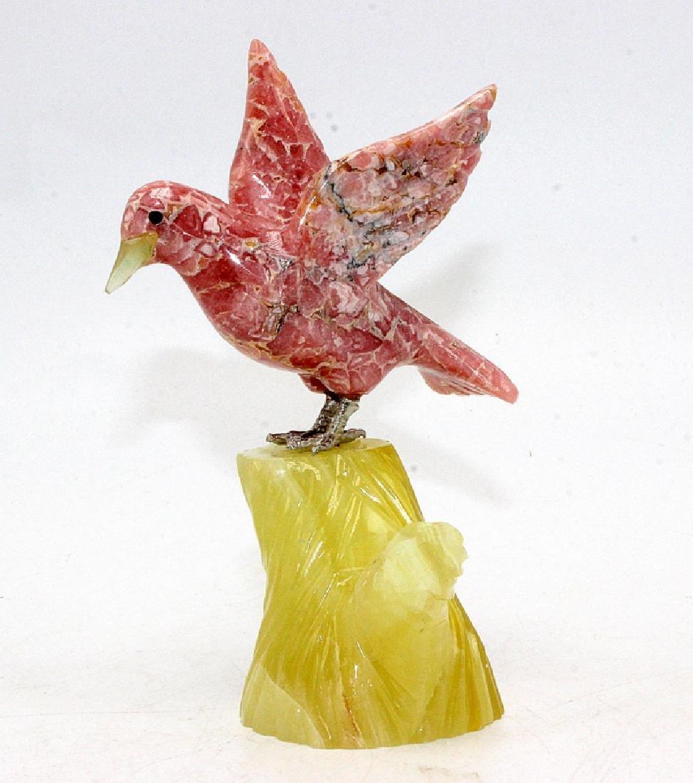 Rhodochrosite Bird Mounted on a Semi-Precious Stone