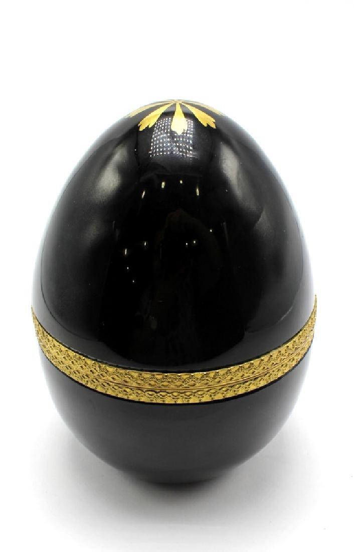 Vintage French Black Opaline Egg Form Jewelry Casket