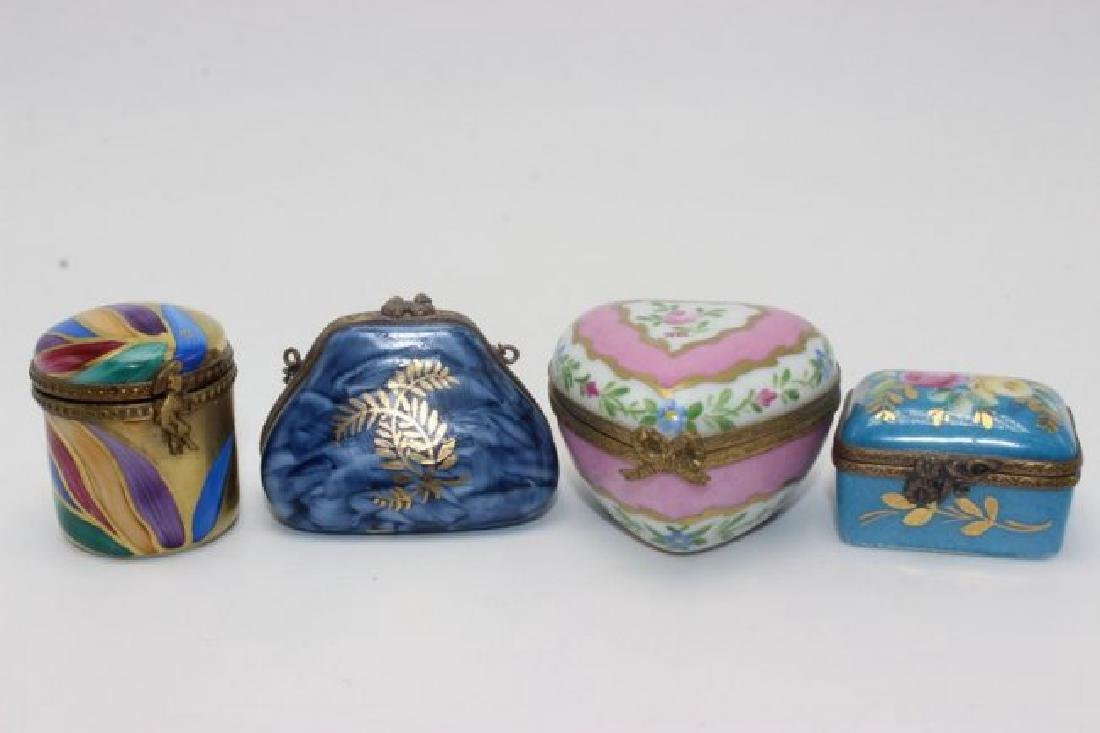 Limoges (4) Hand Painted Pill Boxes