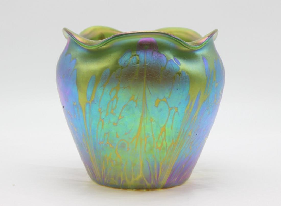 Rare Loetz Art Nouveau Iridescent Scalloped Edge Vase