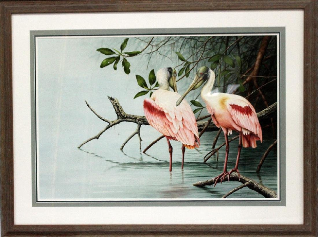 Ernest C. Simmons Pink Pelicans in the Water Oil on