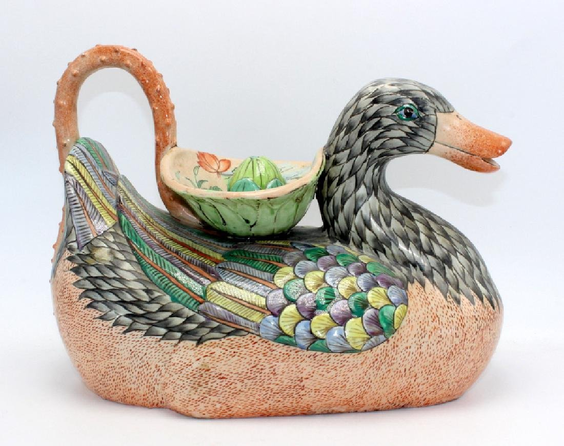 Chinese Ceramic Decanter Modelled as a Duck