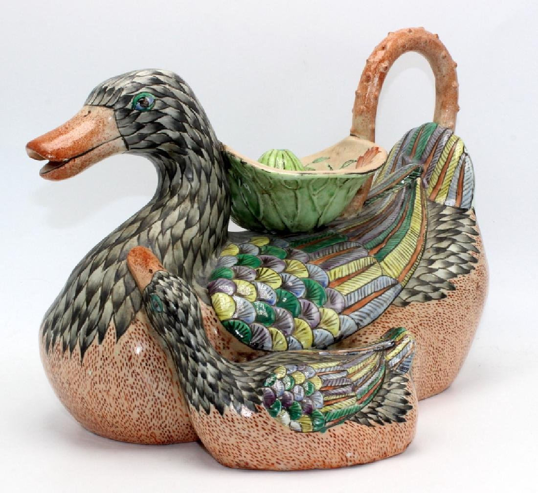 Chinese Ceramic Decanter Modelled as a Duck - 2