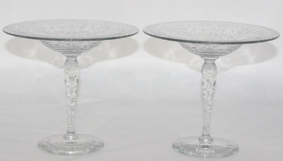 Webb Crystal Etched Compotes - 2