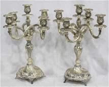 Silver Plated Five-Light Candelabras