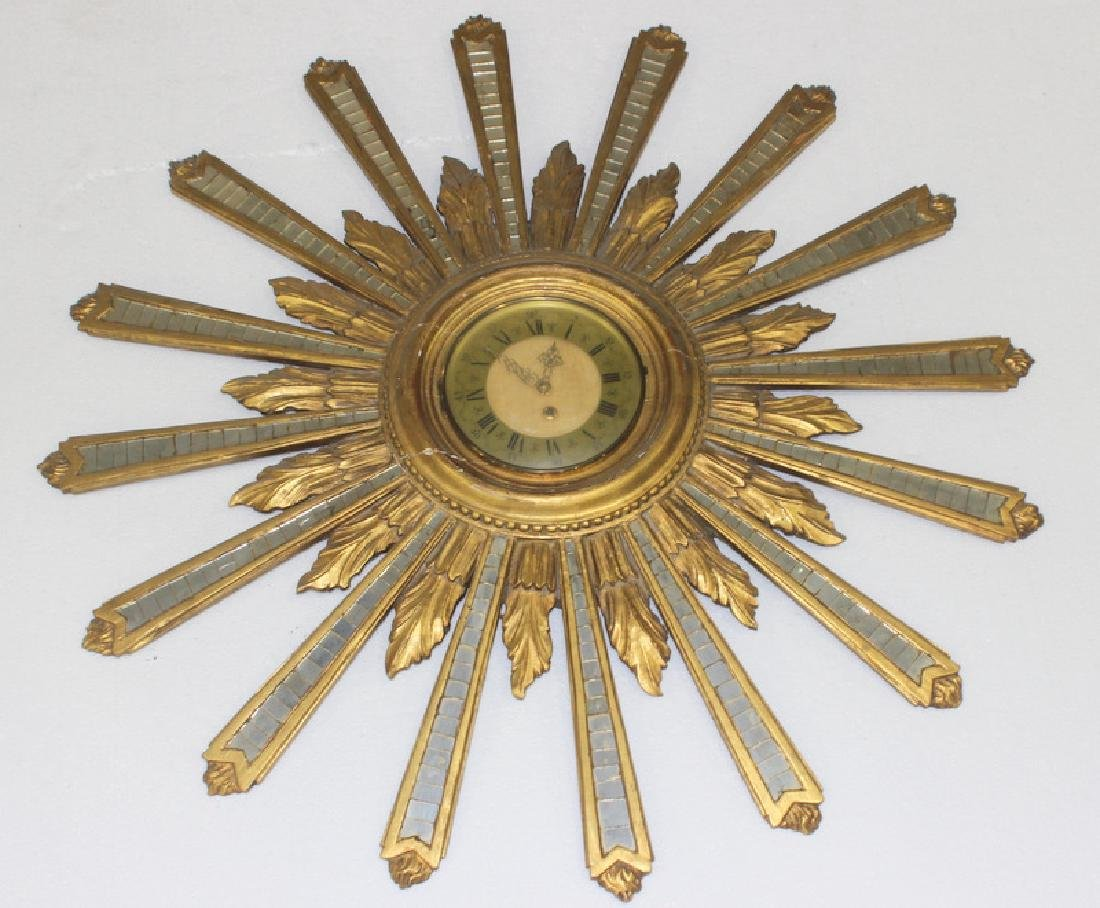 Italian Gold Leaf Starburst Clock
