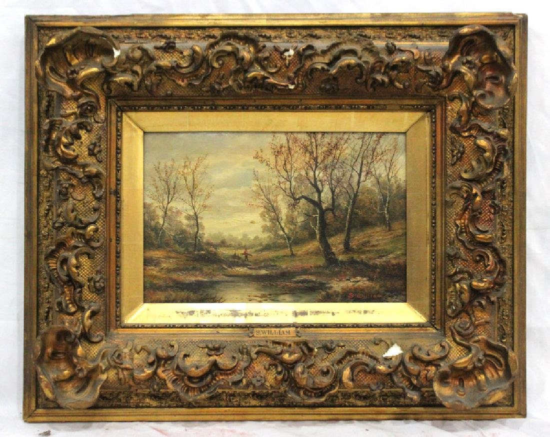 Antique S. William Oil Painting on Canvas & Hand Carved