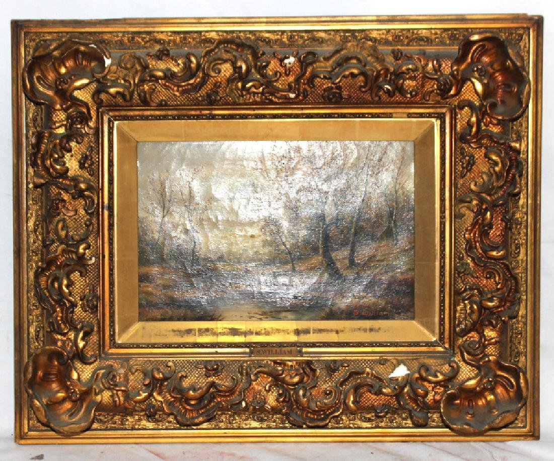 Antique S. William Oil Painting on Canvas & Hand Carved - 3