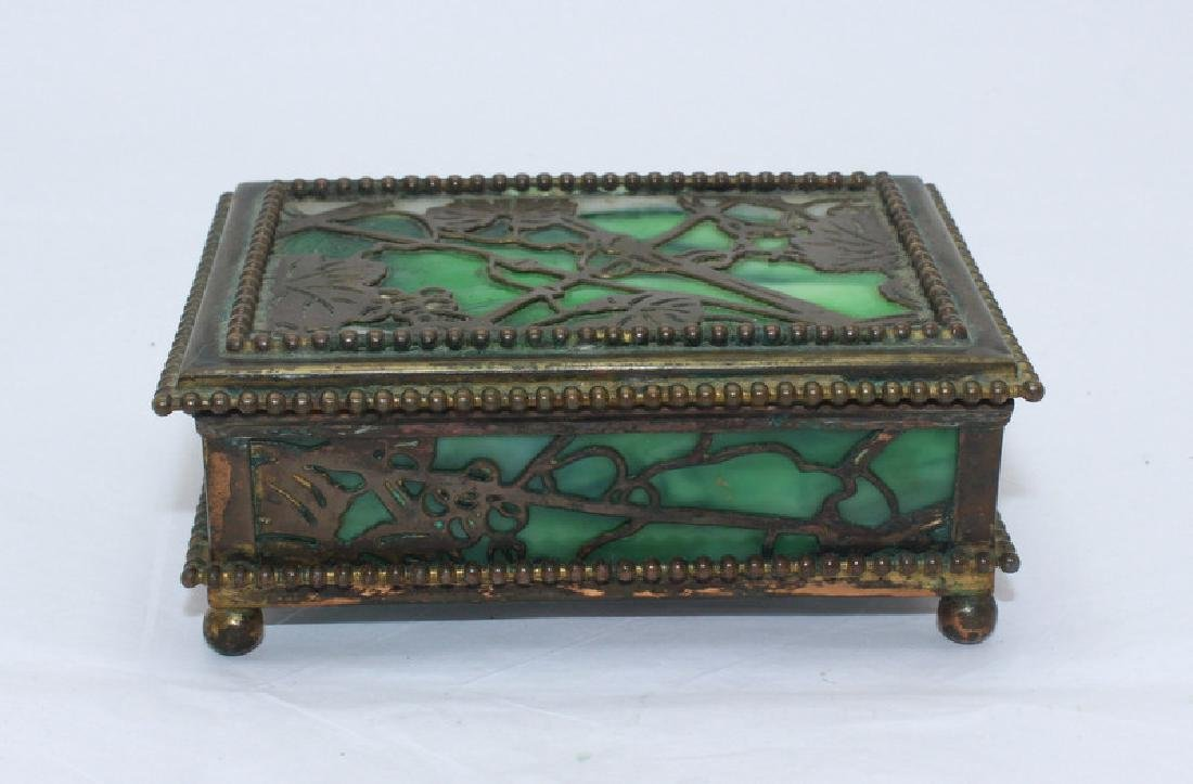 Tiffany Studios New York Bronze Glass Grapevine Box