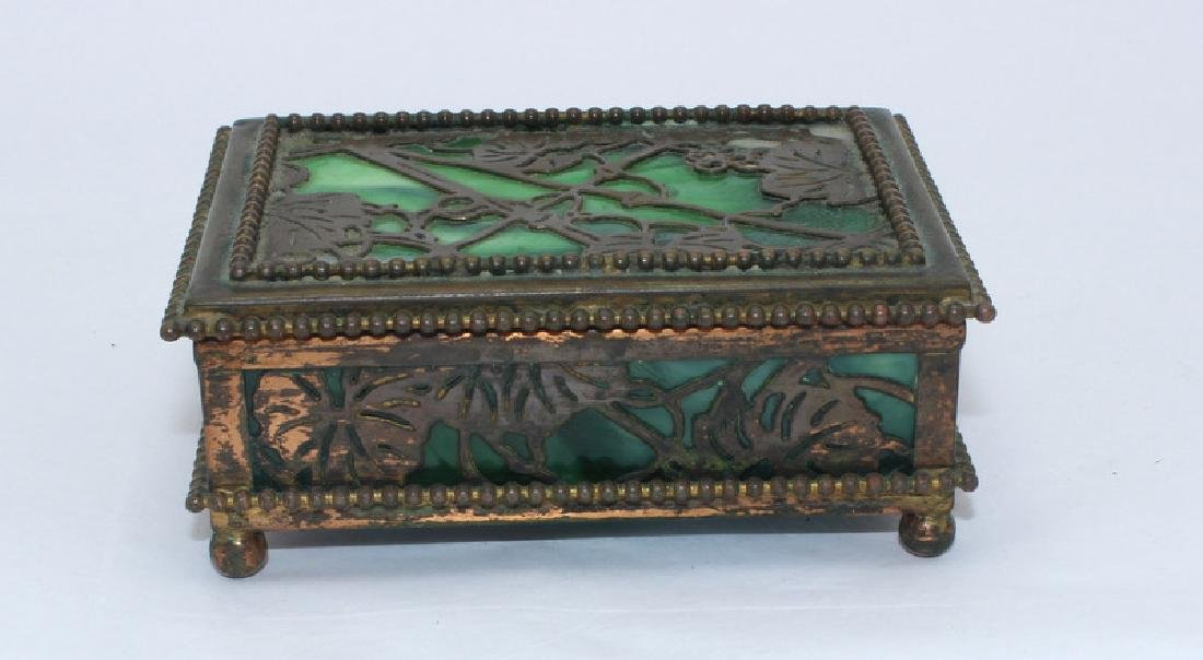 Tiffany Studios New York Bronze Glass Grapevine Box - 2
