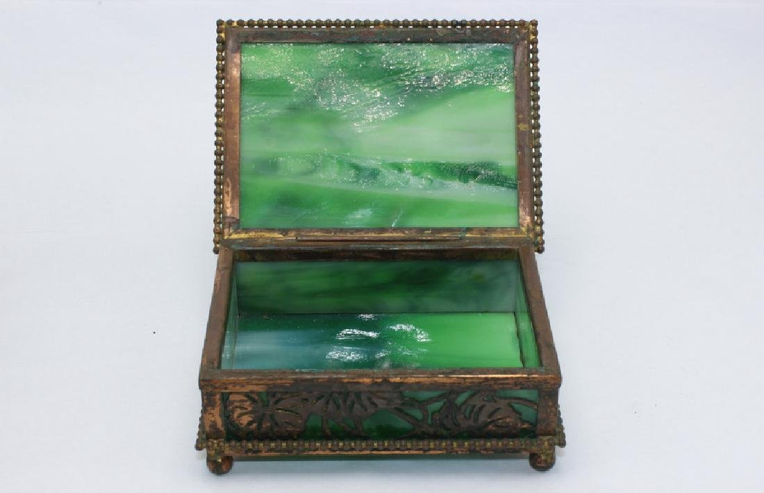 Tiffany Studios New York Bronze Glass Grapevine Box - 3