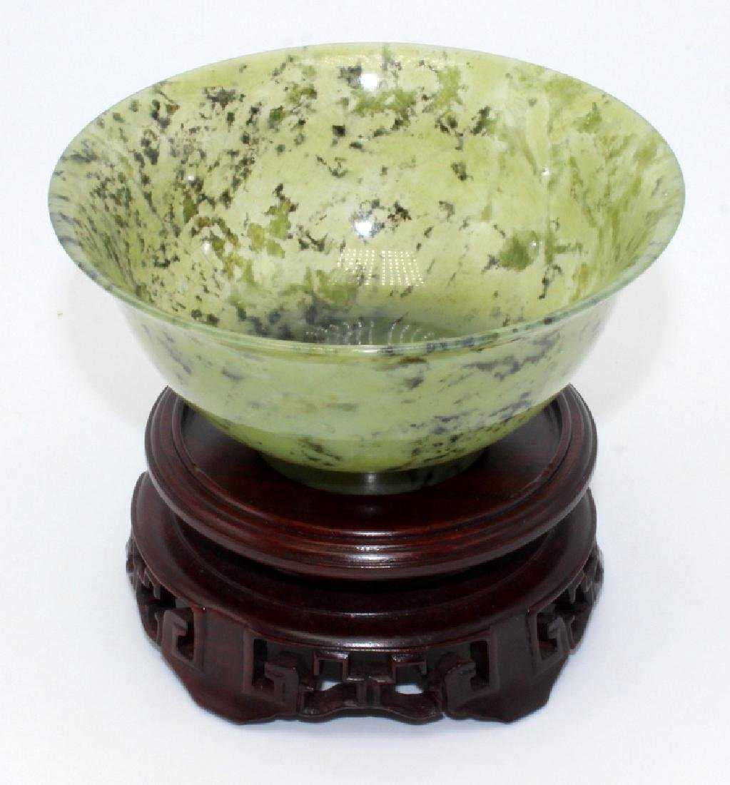 Antique Chinese Spinach Jade Bowl on Hardwood Stand