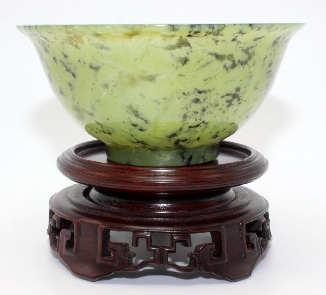 Antique Chinese Spinach Jade Bowl on Hardwood Stand - 2